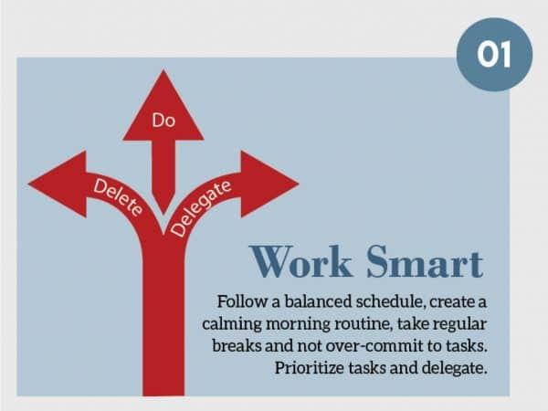 Stress Management Technique 1. Work Smart. Follow a balanced schedule, create a calming morning routine, take regular breaks and not over-commit to tasks. Prioritize tasks and delegate.