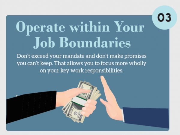 Stress Management Techniques. Operate within Your Job Boundaries. Don't exceed your mandate and don't make promises you can't keep. That allows you to focus more wholly on your key work responsibilities.